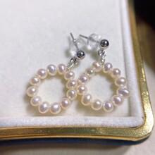 天然珍珠原创设计轻奢手作14K注金耳钉图片