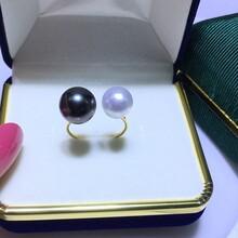 双珠款黑紫色泽大溪地珍珠澳洲白珠珍珠戒指图片