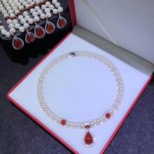 母亲节妈妈项链淡水珍珠红玛瑙9-10mm纯银扣图片