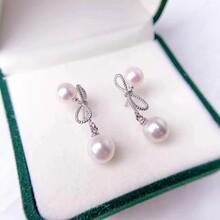 蝴蝶结纯银耳钉淡水珍珠6-8mm圆珠三色可选图片