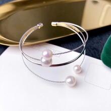 珍珠手镯纯银淡水珍珠圆珠图片