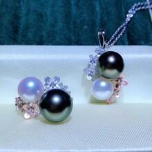 纯银分色双珠吊坠戒指淡水珍珠与海水珍珠混搭图片