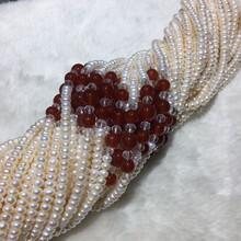 批发淡水珍珠项链5-6mm四面光玛瑙扁珠项链10条起发图片