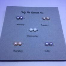 经典款一周五天换着带,星期套装,淡水珍珠8-9mm纯银耳钉,图片