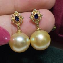 海水珍珠天然金珠耳钉钻石+蓝宝石图片