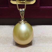 珍珠招商微商代理卓伟珍珠13-14mm南洋金珠吊坠图片