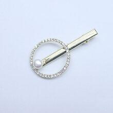 直播微供批发淡水珍珠7-8mm扁圆发夹发饰图片