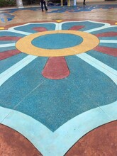 陜西漢中洗砂地坪價格礫石洗砂地坪材料圖片