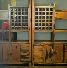 三亚实木展示架生产图片
