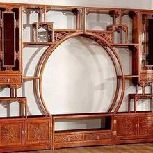 展柜展架、博古架实木家具、茶楼酒店实木柜、酒柜隔断柜、书柜图片