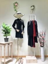 歐洲宮廷風初秋金絲絨連衣裙高端大氣專柜尾貨品牌折扣女裝圖片