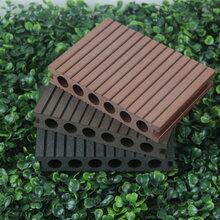 威海生产140*25圆孔塑木地板,塑木地板安装图片