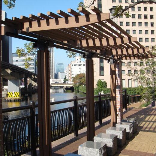 江山市塑木景觀廊架圖片,景觀廊架