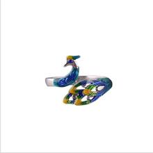 醉藍S925銀景泰藍孔雀戒指爆款設計琺瑯彩飾品女戒個性潮人開口戒圖片