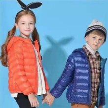 专柜品牌童装羽绒服轻薄款90白鸭绒儿童连帽超轻羽绒服外套批发图片