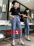 便宜牛仔褲批發秋季新款時尚女式牛仔長褲高腰休閑老爹褲