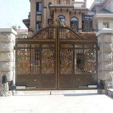 黑纱纹封板别墅大门运城市河津市小区围墙锌钢护栏图片