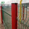 绿色小区栏杆三角折弯护栏网桃型柱护栏报价