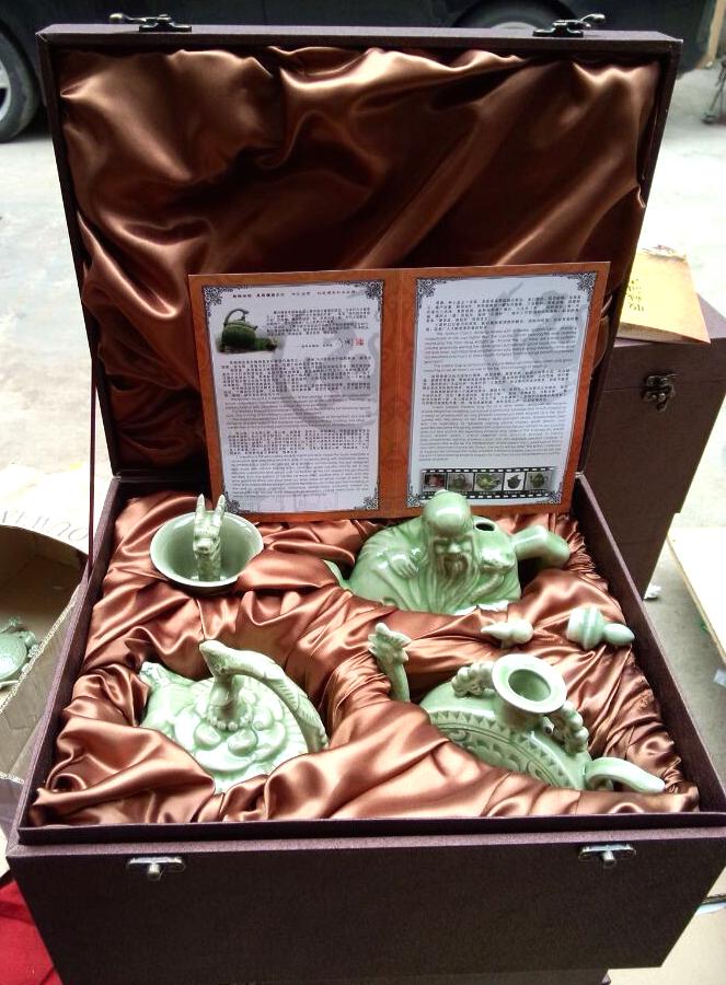 西安耀州瓷特色四件套商务出国礼品良心壶倒流壶公道杯中国风礼品