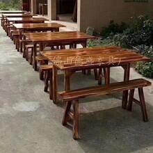 碳化木酒店桌椅復古飯店大排檔農家樂面館燒烤店火鍋店圓桌椅組合