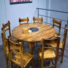 碳化新款實木飯桌椅組合圓形火鍋店餐館大排檔農莊農家樂圓桌仿古