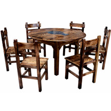 碳化木飯桌椅仿古松木火鍋店餐館大排檔專用炭燒圓桌