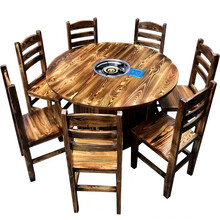 農家樂實木桌椅小吃店面館飯店快餐店方凳長桌大排檔餐桌椅組合