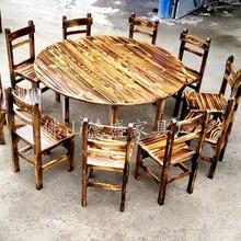 飯店火鍋圓桌椅配套農家樂大排擋實木椅子碳化木火鍋店復古餐椅
