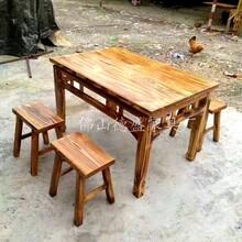 飯店椅子火燒木松木火鍋桌長方形餐廳餐椅火鍋店椅實木農家樂餐椅