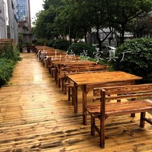 飯店實木桌椅組合小吃店快餐桌子燒烤農家樂大排檔碳化木火鍋桌椅