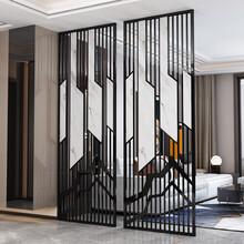 新余酒店黑鈦不銹鋼隔斷屏風定做圖片