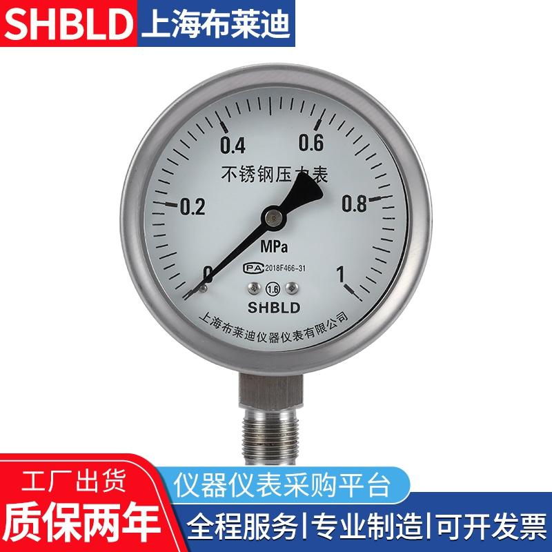 布莱迪Y-100A-Z抗振压力表Y-60A-Z耐腐蚀2.5MPA