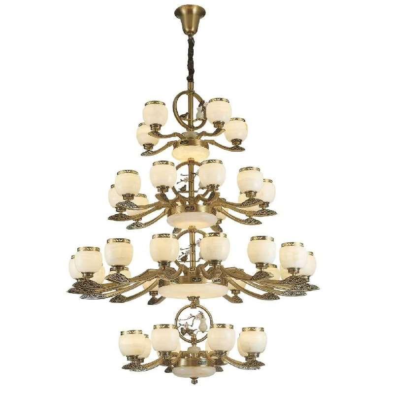 白玉灯具玉石铜灯全铜中式玉石灯欧式天然玉石吊灯