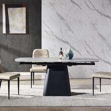 厂家现代简约家用小户型可伸缩岩板餐桌椅组合五金铁架图片