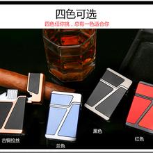金属雪茄专用打火机带打孔器防风双火直冲蓝色火焰创意打火机批发图片