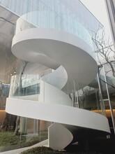 银川商场玻璃旋转楼梯安装图片
