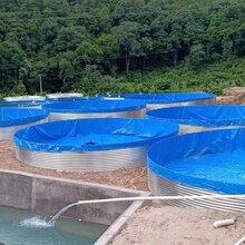 厂家直销镀锌板帆布鱼池圆形帆布养殖鱼池图片