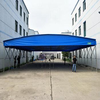 戶外倉庫電動推拉帳篷移動收縮大型物流遮陽棚折疊活動伸縮式雨蓬