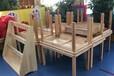 幼兒園學校橡木兒童六人課桌椅工廠批發