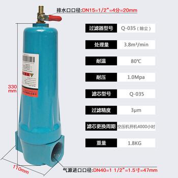 QPS压缩空气精密空压机过滤器小型干燥除水气泵油水分离器冷干机