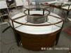 私人場所內圓形不銹鋼珠寶展示柜電鍍玫瑰金做防指紋處理