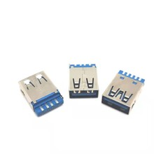 USB3.0連接器焊線A母焊線式USB鐵殼直邊藍膠圖片