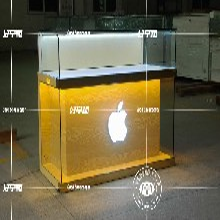 临沂市厂家直销苹果木纹手机柜、木纹手机体验中岛