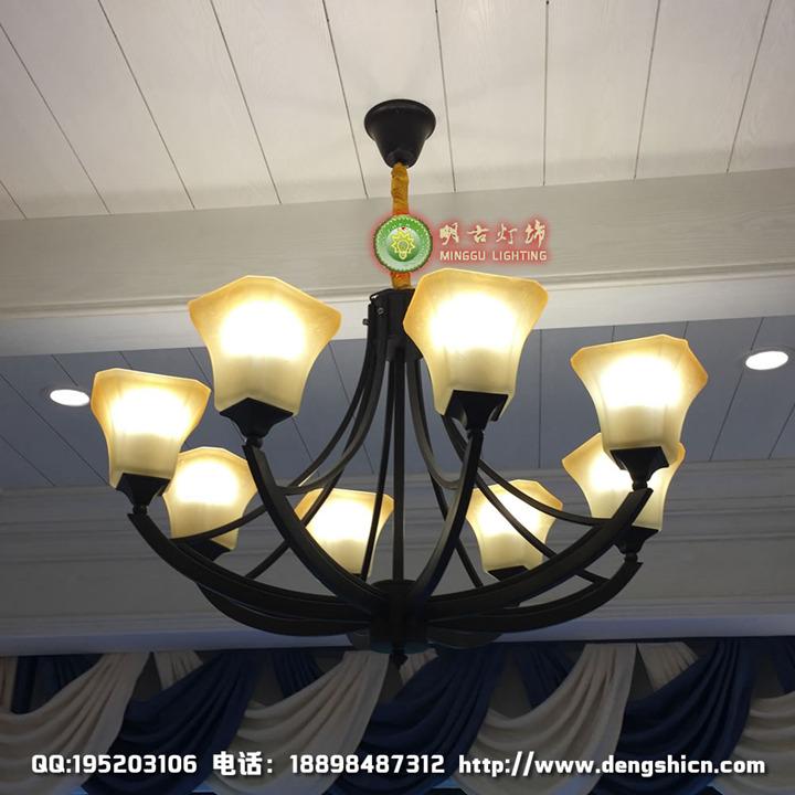 欧式铁艺吊灯、铁艺玻璃罩吊灯、酒店客房吊灯、欧式会所吊灯、欧美铁艺吊灯定制