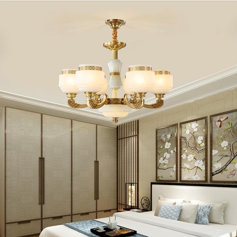 新中式全铜灯全铜仿云石灯纯铜玻璃吊灯厂家直销