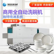 江西部队食堂长龙式洗碗机酒店餐具烘干消毒洗碗机设备图片