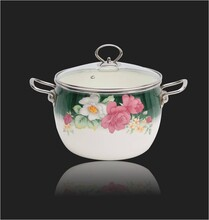 西安汤锅礼品(荷塘月色款锅具)韩式搪瓷汤锅(月色蔷薇花色)图片