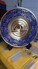 西安奖盘订做,圆形纯铜看盘桌摆,镀金奖盘刻字彩印图片