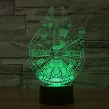 欧美爆款星球大战千年隼创意LED小夜灯生日礼物3d立体视灯图片