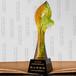 上海琉璃奖杯,爱心奉献奖杯定制,叶子形状奖杯,环保奖杯定制